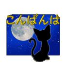 金色の目の黒猫&金文字敬語(個別スタンプ:3)