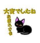 金色の目の黒猫&金文字敬語(個別スタンプ:19)