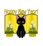 金色の目の黒猫&金文字敬語(個別スタンプ:39)