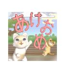 飛び出す 縁側の猫【お正月】(個別スタンプ:4)
