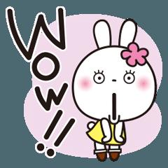 [LINEスタンプ] あいづちスタンプ♥️花うさちゃん_英語