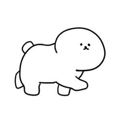 [LINEスタンプ] 白いもこもこ わたあめ犬