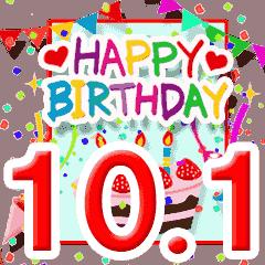 [LINEスタンプ] 動く!10月1日~15日☆お誕生日☆お祝い