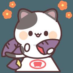 [LINEスタンプ] 感情豊かなくろぶちにゃんこ(秋編)