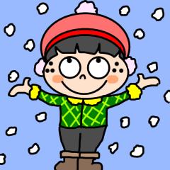 [LINEスタンプ] 可愛いそばかすコトちゃん【冬】