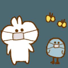 [LINEスタンプ] もちもちウサギと青い鳥