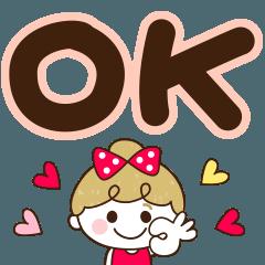[LINEスタンプ] 毎日デカ文字♡リボンの女の子