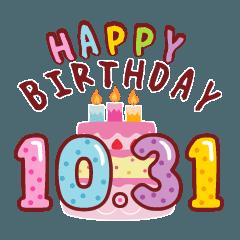 [LINEスタンプ] 動く!10月17日~10月31日の誕生日のお祝い