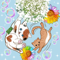[LINEスタンプ] ❤️可愛い猫たちと綺麗なお花❤️日常ver