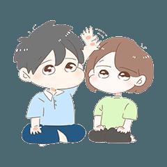 [LINEスタンプ] もちもち顔のカップル
