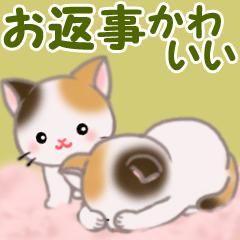 [LINEスタンプ] お返事かわいい 三毛猫ツインズ