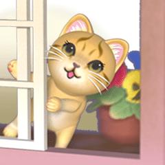 [LINEスタンプ] 出窓の猫【動く3D】
