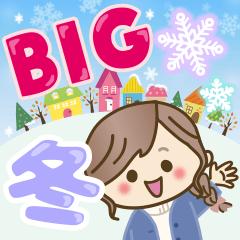 [LINEスタンプ] 【BIG】冬~新春♡ナチュラルガール