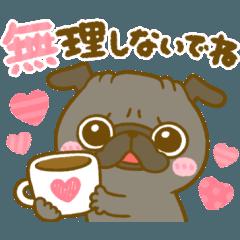[LINEスタンプ] 可愛い♡デカ文字黒パグちゃん