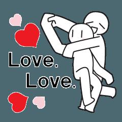 [LINEスタンプ] 地球の上で愛してる。ラブ4倍!
