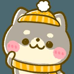 [LINEスタンプ] ♡くろまめちゃんの冬♡