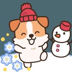[LINEスタンプ] 陽気なジャックわんこ3(寒い日)