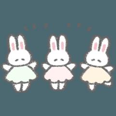 [LINEスタンプ] 小さいふんわりうさちゃんたち