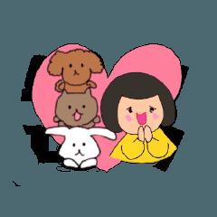 [LINEスタンプ] 娘とうさぎと犬と猫。