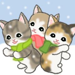 [LINEスタンプ] 冬のもこもこ猫ちゃんズ