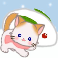 [LINEスタンプ] 冬のもふもふしっぽの子猫ちゃん
