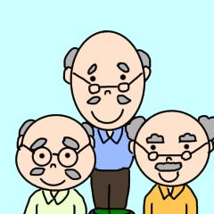 [LINEスタンプ] おじいちゃんの仲良し3人トリオ
