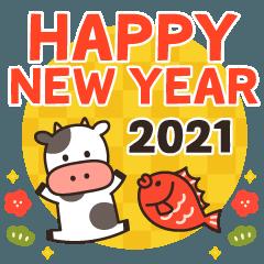 [LINEスタンプ] ❄かわいい牛さんの年末年始❄