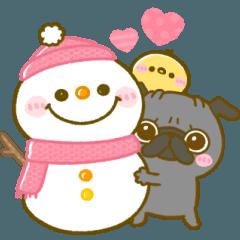 [LINEスタンプ] 冬♡黒パグちゃん