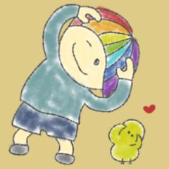 [LINEスタンプ] ➀コオくん〜手描きクレヨン〜