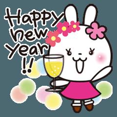 [LINEスタンプ] お正月✨きらきら花うさちゃん✨改訂版2021