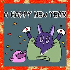 [LINEスタンプ] 猫とカモノハシ_年末年始Ver